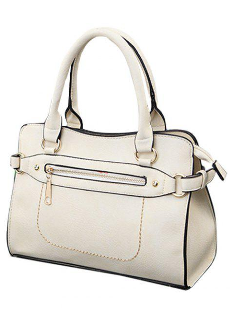 women Stitching Zip Textured PU Leather Tote -   Mobile