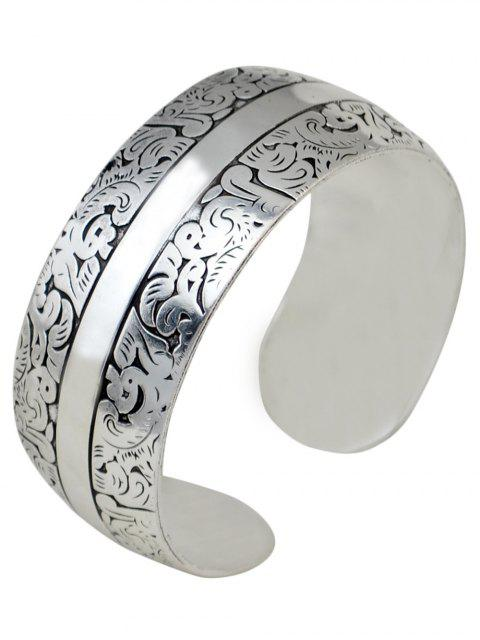 outfit Elephant Etching Stainless Cuff Bracelet - SILVER  Mobile
