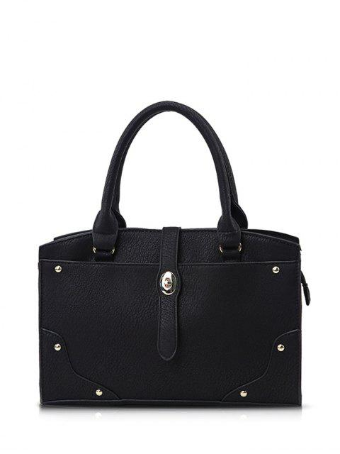 women's Rivet Metal PU Leather Handbag - BLACK  Mobile