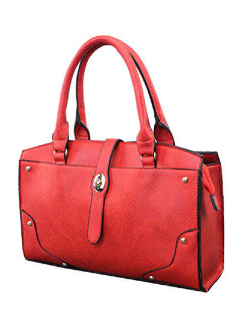 ladies Rivet Metal PU Leather Handbag - RED  Mobile