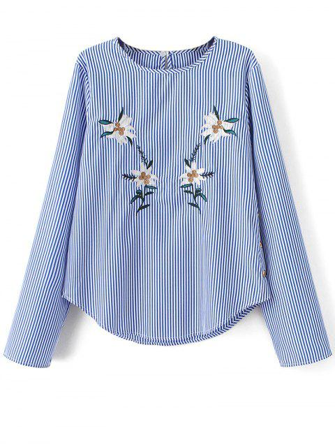 latest Stripe Embroidered Blouse - BLUE S Mobile
