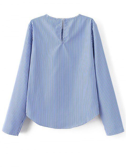 shop Stripe Embroidered Blouse - BLUE L Mobile