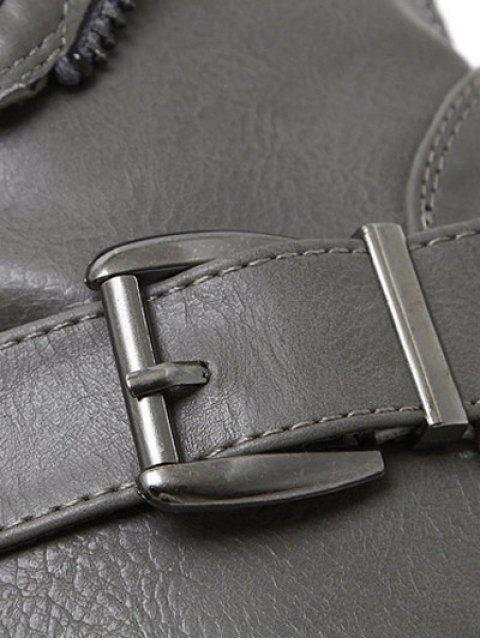 lady Belt Buckle Zipper Short Boots - DEEP GRAY 38 Mobile