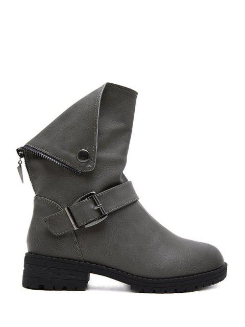 women Belt Buckle Zipper Short Boots - DEEP GRAY 39 Mobile