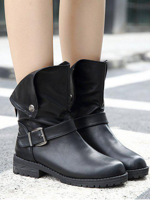 online Belt Buckle Zipper Short Boots - BLACK 40 Mobile