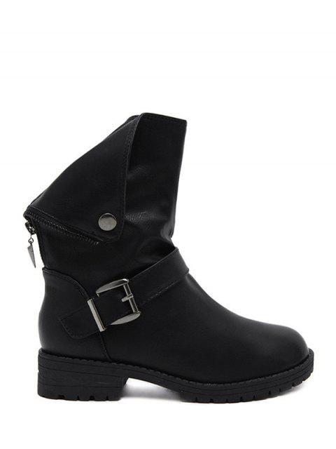 hot Belt Buckle Zipper Short Boots - BLACK 38 Mobile