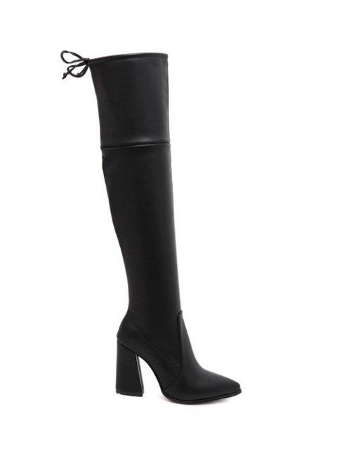 shop Tie Up Zipper Pointed Toe Thigh Boots - BLACK 38 Mobile