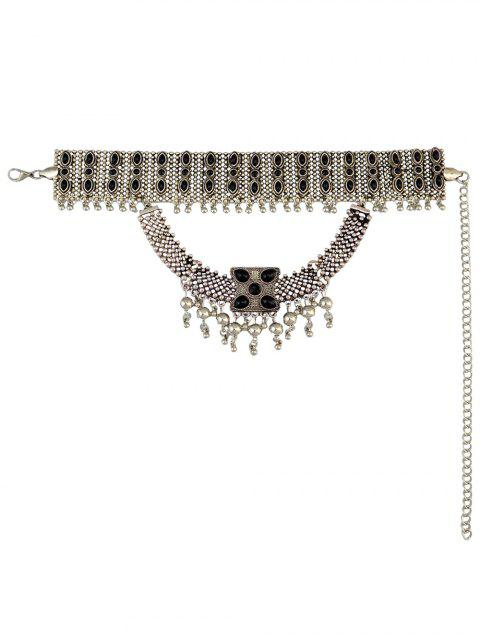 chic Faux Gem Beads Tassel Necklace -   Mobile