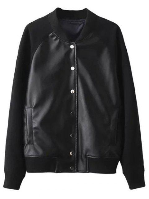 chic PU Panel Baseball Jacket - BLACK S Mobile