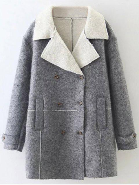 fashion Faux Shearling Lapel Collar Pea Coat - GRAY S Mobile