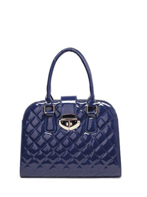trendy Rhombic Patent Leather Handbag - DEEP BLUE  Mobile