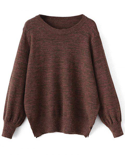 latest Heathered Slit Sweater - CLARET ONE SIZE Mobile
