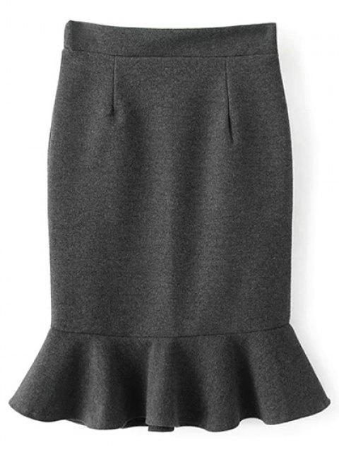 chic High Waist Turmpet Skirt - GRAY S Mobile