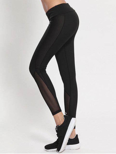 womens Mesh Panel High Waist Skinny Yoga Leggings - BLACK XL Mobile