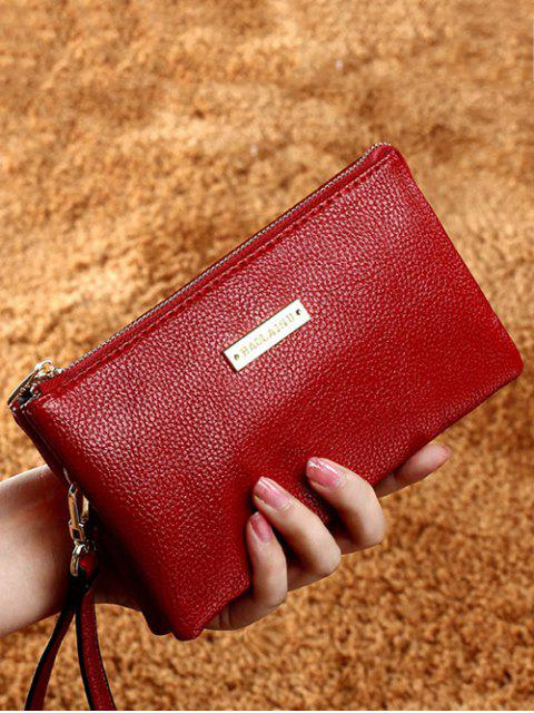 women Metal Textured PU Leather Clutch Bag - RED  Mobile