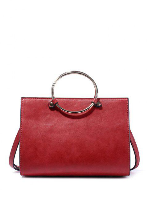 unique Metal Ring PU Leather Handbag -   Mobile