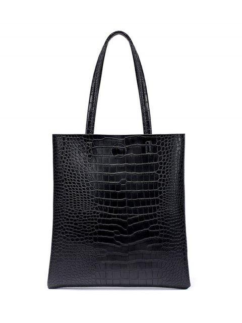 best Casual Crocodile Embossed Shoulder Bag - BLACK  Mobile