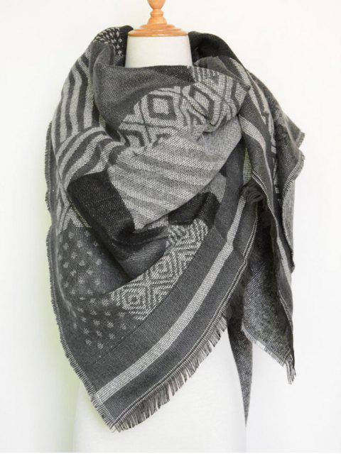 trendy Aztec Geometry Fringed Knit Scarf - GRAY  Mobile