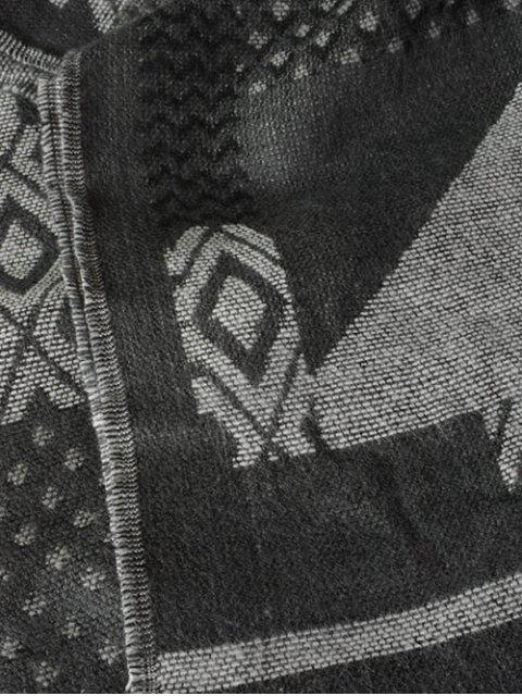 trendy Aztec Geometry Fringed Knit Scarf -   Mobile