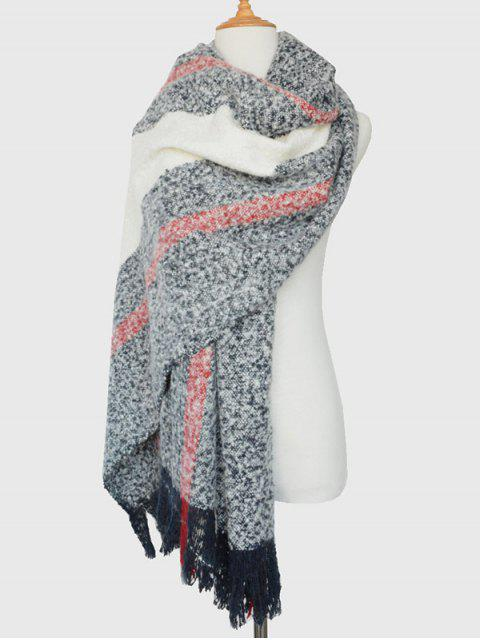 unique Color Block Tassel Woolen Yarn Scarf - CADETBLUE  Mobile