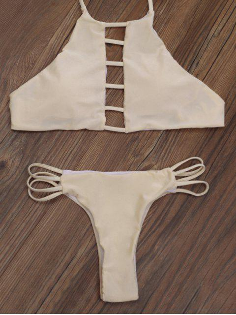 women's Ladder Cut Out High Neck Bikini - APRICOT XL Mobile