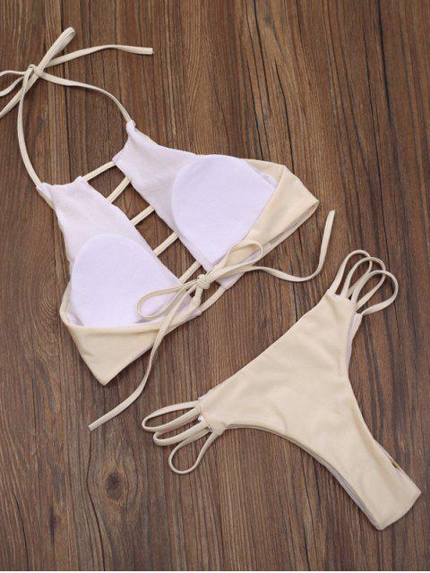 ladies Ladder Cut Out High Neck Bikini - APRICOT L Mobile