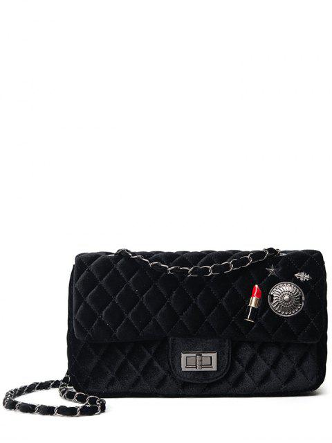 fashion Argyle Pattern Metal Chain Shoulder Bag - BLACK  Mobile
