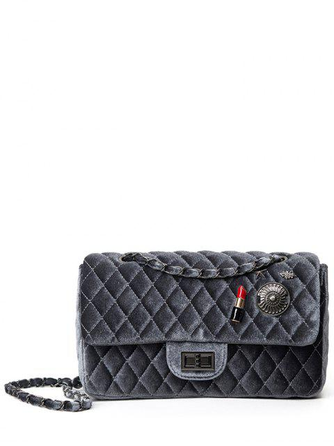 chic Argyle Pattern Metal Chain Shoulder Bag -   Mobile