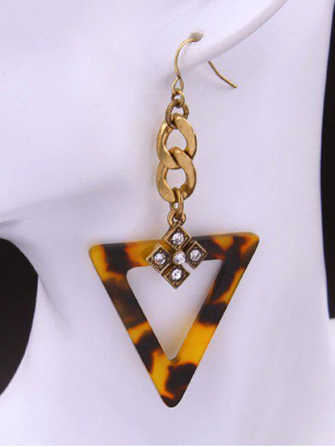 lady Leopard Print Rhinestone Triangle Earrings - LEOPARD  Mobile