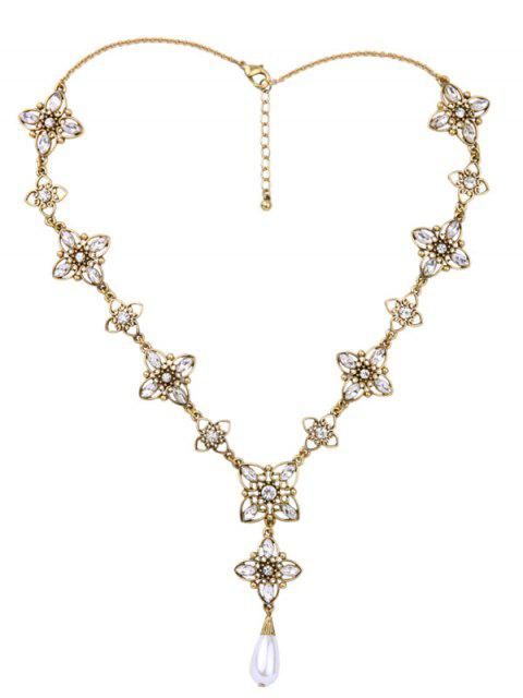 women Artificial Pearl Rhinestone Flower Necklace -   Mobile