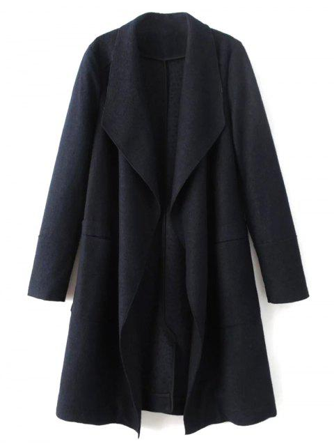 online Turndown Collar Woolen Blend Coat - CADETBLUE L Mobile