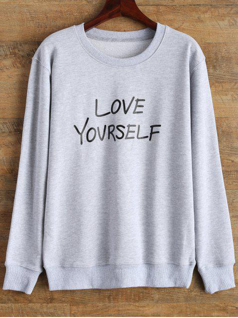 online Crewneck Love Yourself Graphic Sweatshirt - GRAY M Mobile