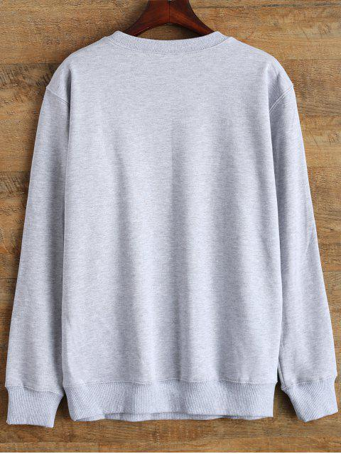 best Crewneck Love Yourself Graphic Sweatshirt - GRAY L Mobile