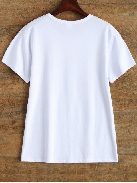 fancy Jewel Neck Letter Cotton Tee - WHITE L Mobile