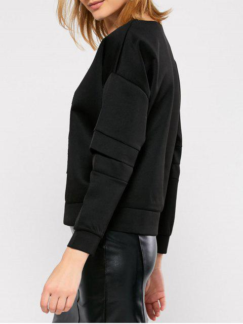 buy Cut Out Embroidered Baseball Sweatshirt - BLACK L Mobile