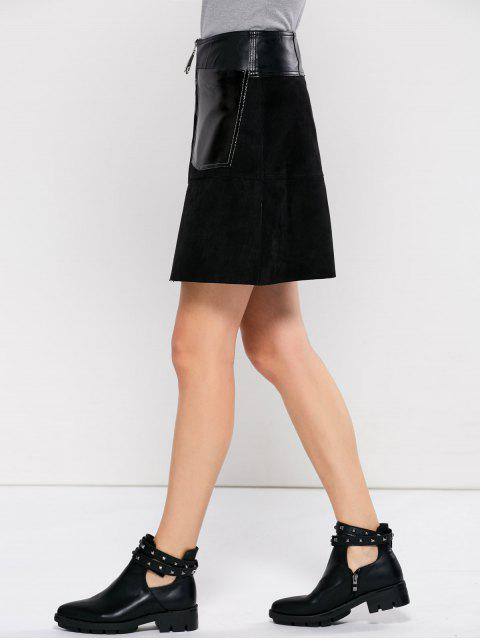 buy PU Leather Panel A Line Skirt - BLACK L Mobile
