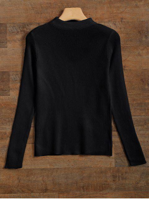 affordable Ribbed Cut Out Choker Jumper - BLACK M Mobile