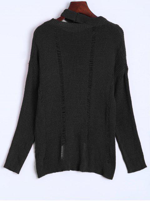 Übergröße Zerstörter Pullover - Schwarz Eine Größe Mobile