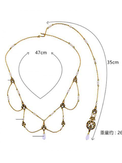 hot Artificial Pearl Rhinestone Collar Necklace -   Mobile