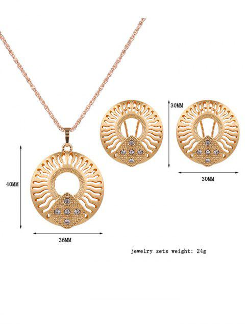 womens Rhinestone Cut Out Jewelry Set - GOLDEN  Mobile