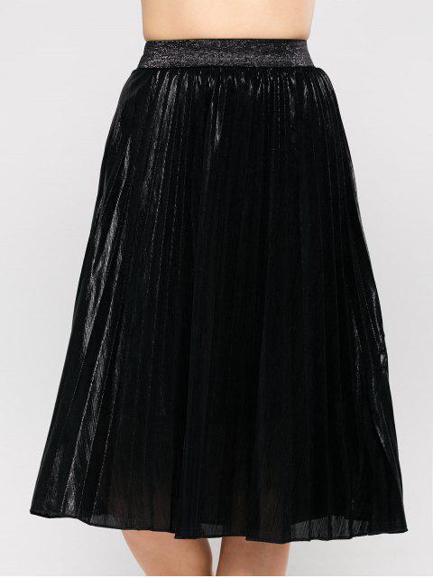 best Pleated Tea Length Skirt - BLACK S Mobile