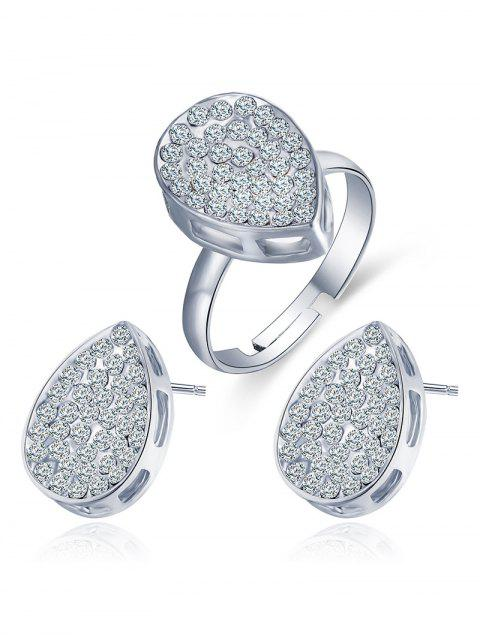 outfits Rhinestoned Teardrop Earrings and Ring -   Mobile