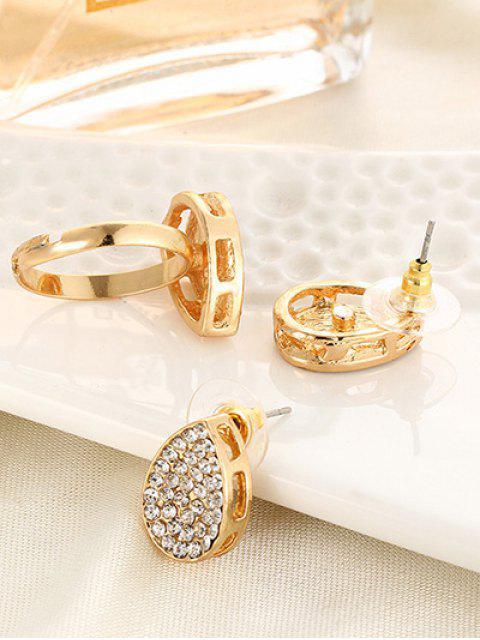 shop Rhinestoned Teardrop Earrings and Ring -   Mobile