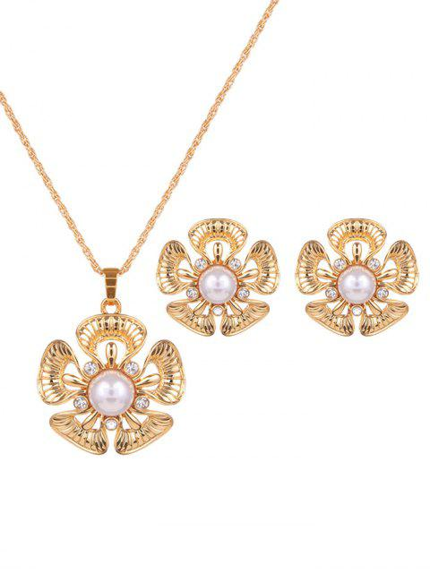 online Floral Rhinestone Faux Pearl Jewelry Set -   Mobile