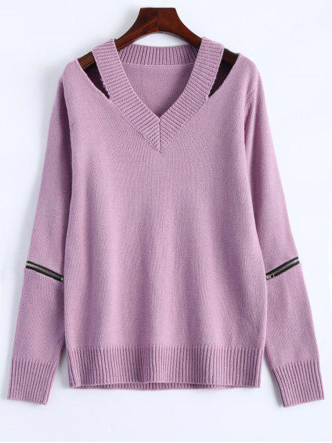 fancy Pullover Zipper V Neck Sweater - PINK 2XL Mobile