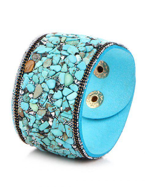women's Natural Stone Faux Leather Bracelet -   Mobile