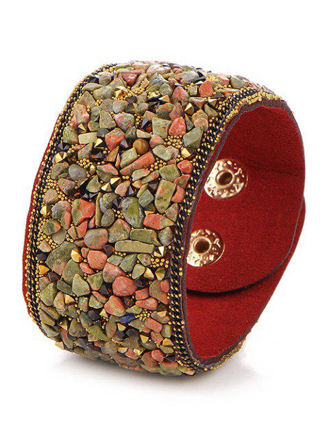 hot Natural Stone Faux Leather Bracelet -   Mobile
