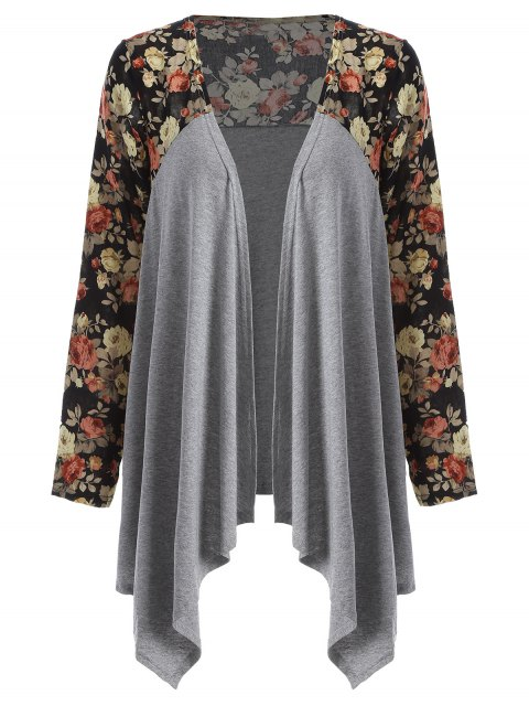 women's Floral Print Duster Coat -   Mobile