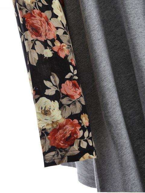 ladies Floral Print Duster Coat - GRAY M Mobile