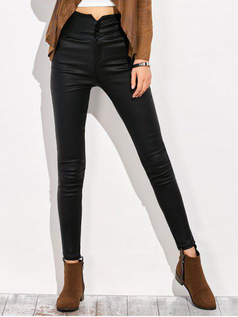 trendy Skinny Criss Cross Pencil Pants - BLACK M Mobile